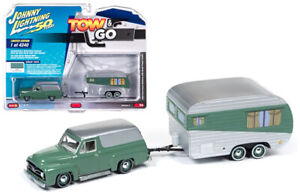 Johnny lightning 1955 ford panel delivery with small travel trailer 1:64 New