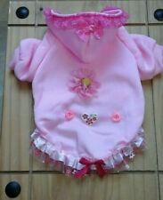 Designer petit chien/chihuahua Vêtements rose avec fleurs en polaire à capuche manteau.