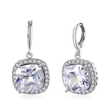 3 59ct Moissany Halo Leverback Drop Dangle Earrings 14k White Gold