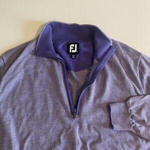 Footjoy FJ Mens Large Wool Light Purple 1/4 Zip L/S Pullover See Measurements