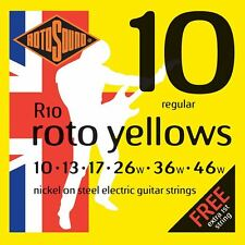 Rotosound R10 Roto Yellows Electric Guitar Strings Gauge 10-46  - Made in the UK