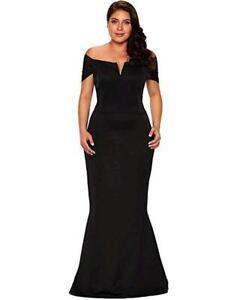 LALAGEN Women's Plus Size Off Shoulder Long Formal Party, Black, Size XXX-Large