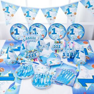 First 1st Birthday sport Baby Boys Blue Party Supplies Tableware & Decorations