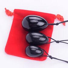 3PCS/set Drilled natural black obsidian yoni egg crystal gemstone shperes