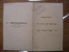 MOTEUR BERNARD Liste tarif pieces de rechange moteur type 39 METIER BRICOLAGE