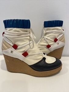 CHANEL Lace up Wedge winter 2020 Boots Multi-color