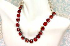 RED Necklace - Orange Crystal Necklace - made w/ Padparadscha Swarovski Crystals