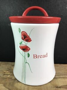 Dunelm Ceramic Bread Bin Canister Jar White With Red Poppies