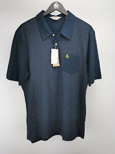 Penguin men's polo shirt slim fit short sleeve polka navy size XXL NEW 003