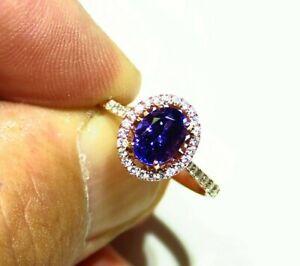 1.92CT 14K Gold Natural Tanzanite Diamond AAAA Grade Engagement Ring Vintage