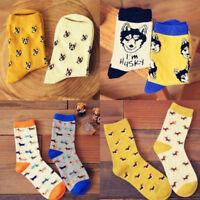 FT- Unisex Winter Cute Animal Cartoon Dog Printing Couple Cotton Long Socks Nove