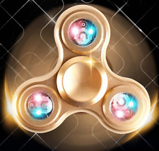 3 LED Light ADHD Anxiety Autism Fidget Hand Spinner EDC For Adult Alloy Gold