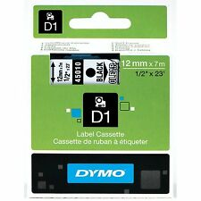 """Dymo 45010 D1 Tape Cartridge for Label Makers, Black on Clear, 1/2"""" w x 23 ft."""