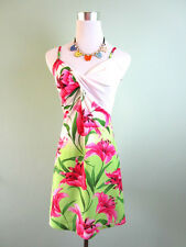 Womens Vtg Sexy Summer Casual Floral Print Stretch Party Dress sz 8 10 S H90