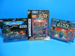 Star Wars Micro Machines Lot Of 3 Sealed Playsets Dune Sea Pack Boba Fett!!!