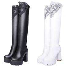 Womens Lace Over Knee Boots Round Toe High Heel Long Boot Platform Shoes Pull On