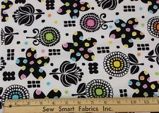 "100% Cotton: Black flowers w/Color on White Background; 56"" W, 3 yd. Piece"
