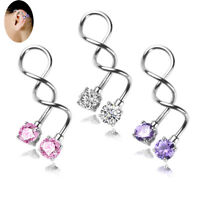 Surgical Steel Twist Helix Cartilage Crystal Ear Stud Body Piercing Earring 1YB