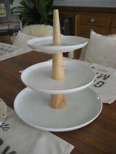 DEPOT Etagere 3-stöckig Porzellan & Holz (+ 2 Teller Melamin Vintage) 32cm hoch