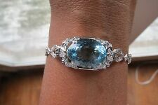 Huge Natural VS 10 ct aquamarine .7 ct Diamond & Platinum bracelet bangle 7 inch