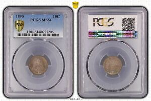 1890 Seated Liberty Dime PCGS Secure MS 64 *Lots Of Underlying Mint Luster!*