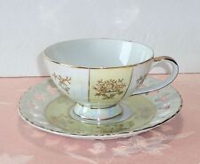 Vintage Tea Cup and Saucer Set Japan Hand Painted Pearl Luster Gold Pierced