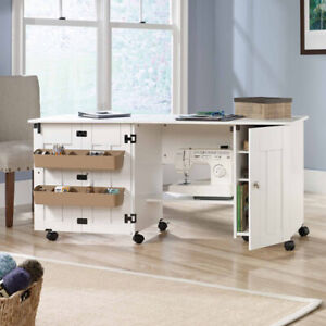 Sewing Crafts Hobby Furniture Cabinet Drop Leaf Storage Table Sauder White