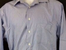 Pronto Uomo Non-Iron Men's Long Sleeve Dress Shirt Size Large Blue Striped L