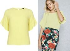 DOROTHY PERKINS Lemon Ruffle Sleeve Top Blouse  Sizes  6 to 18
