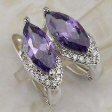 Hot Great Amethyst Purple Marquise Gem Jewelry Fashion Huggie Earrings h2882