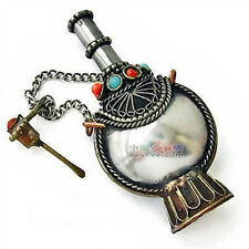 "Large Tibetan Filigree 8 Turquoise Coral Spoon Snuff Bottle Pendant -2.5"" Tall"