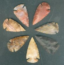 """25 HAND KNAPPED STONE AGATE ARROWHEAD FOR JEWELRY  1 1/4"""" to 2"""" SIZE"""