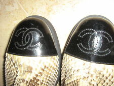CHANEL RUNWAY HUGE~CC~CAP BLK PAT LTHER&PYTHON HIPPIE TALL BOOTS 36.5NEW$3k