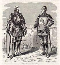 Antique woodcut print knight costumes Knights Armor / Hertog Jan zonder Vrees