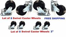 "Lot of 8 Heavy Duty 2"" Swivel Caster Wheels Rubber Base with Top Plate Bearing"
