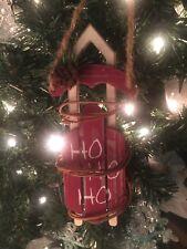 "New Rustic Kurt Adler 7"" Farmhouse Red Wooden Sled- Christmas Ornament! Ho Ho Ho"