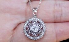 "NEW 10K Natural Diamond Medallion Antique Pendant Necklace 18"" Chain White Gold"
