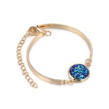 Women Druzy Natural Geode Stone  Rhinestone Pave Bangles Bracelet Jewelry Gift