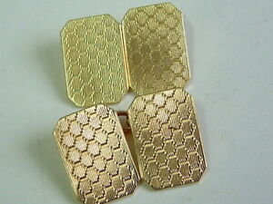 VINTAGE 9CT YELLOW GOLD 1950'S GENTS RECTANGULAR PATTERNED CUFFLINKS