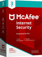 McAfee Internet Security 2018/2017 - 1Year Subscription -3 PCs (Only for PC)