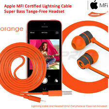 MFI Approved Lightning to USB Sync Charger Data Cable Cord+ Earbud Headphone Mic