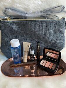 NEW LANCOME Gift Set 7 Pcs Skincare Makeup Travel Size W/ Blue Cosmetic Bag