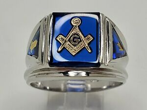 Mens 10k Solid White Gold 6.50tcw Blue Sapphire Masonic Vintage Ring Size 10