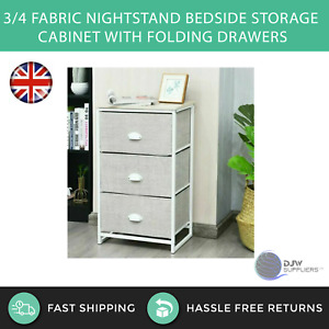 3/4 Tier Fabric Nightstand Bedside Storage Cabinet With Folding Drawers Home