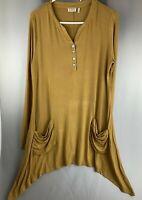 LOGO Lori Goldstein sz M Long Sleeve Blouse Mustard Henley Top Asymmetrical Hem