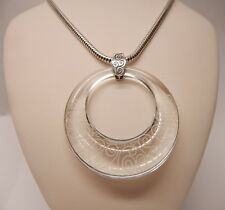 """Brighton Lava Lounge Pendant Clear Lucite Acrylic Necklace 19 - 21"""" N278"""