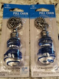 """2 Clear and Blue Drizzle 12""""  Glass Pull Chain"""