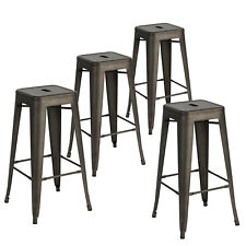 Set of 4 Vintage Gun Metal Steel Bar Stools Kitchen Cafe Home Dining Chair