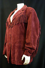 Denim Company Burgundy Suede Leather Fringe Button Coat / Jacket Womens Size 2X