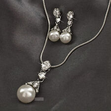 18k white gold GF made with swarovski crystal pearl necklace earrings set